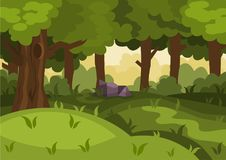 Summer day forest cartoon vector background. With lawn vector illustration