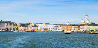 Summer day, Helsinki cityscape. Central quay Royalty Free Stock Image