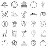 Summer day icons set, outline style Royalty Free Stock Images