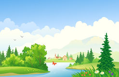 Summer day. Illustration of a beautiful summer river landscape Stock Photo