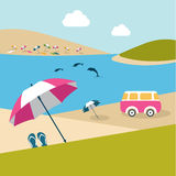 Summer day on the island beach. Pink umbrella and  van. Stock Image