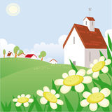 Summer day landscape. With chamomile and free space for your text Stock Images
