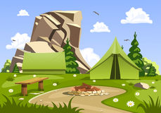 Summer day landscape and green travel, camping tent. Nature vector illustration Stock Images