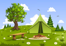 Summer day landscape and green travel, camping tent. Nature vector illustration Royalty Free Stock Image
