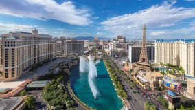 Panoramic view of Las Vegas Strip. Summer day at Las Vegas Strip on July 25, 2018 in Las Vegas, USA. The Strip is home to the largest hotels and casinos in the stock image