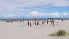 Summer day miami beach volleyball game panorama 4k florida usa. Usa summer day miami beach volleyball game panorama 4k florida stock video footage