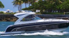 Summer day miami beach yacht riding ocean pass 4k usa stock video