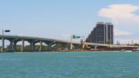 Summer day miami downtown bridge city construction 4k florida usa. Usa summer day miami downtown bridge city construction 4k florida stock video
