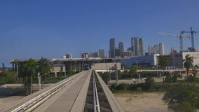 Summer day miami downtown metro train high ride 4k florida usa. Usa summer day miami downtown metro train high ride 4k florida stock video