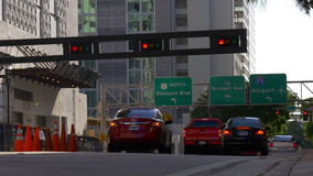 Summer day miami downtown traffic light crossroad 4k florida usa stock video footage