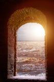 Sea  landscape through stone window Royalty Free Stock Image