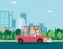 Summer Day Nature Vacation Couple Car Travel. Summer Day Nature Vacation Couple on Car Travel Background City Landscape Flat Design Concept Icon Template Vector Royalty Free Stock Photos