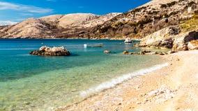 Stara Baska bay in krk. Summer day near Stara Baska village in Krk Island royalty free stock images