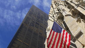 Summer day new york city american flag on manhattan cathedral 4k usa stock footage