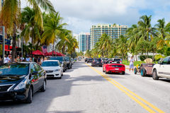 Summer day at Ocean Drive in Miami Beach Stock Photos