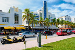 Summer day at Ocean Drive in Miami Beach Royalty Free Stock Photo