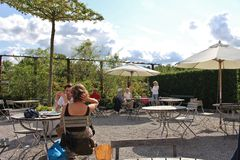 Summer day at an outdoor cafe Stock Photos