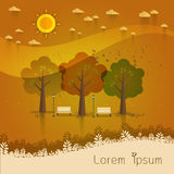 Summer day park. natural landscape in the flat style.a beautiful. Park.Environmentally friendly natural landscape. Vector illustration Royalty Free Stock Images