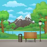 Summer day in the park. Wooden bench, trash can and street lamp with lake and mountains in the background. Summer, spring day park vector illustration. Wooden vector illustration