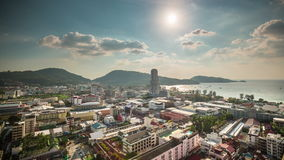 Summer day patong beach city roof top panorama 4k time lapse thailand stock video footage