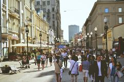 Summer day. People walking on the street in the summer Stock Photo