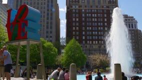 Summer day philadelphia famous love park fountain 4k pennsylvania usa