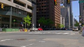 Summer day philadelphia traffic crossroad city center 4k pennsylvania usa stock video