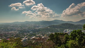 Summer day phuket town monkey hill panorama 4k time lapse thailand stock video footage