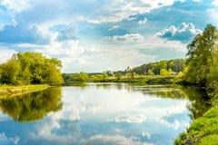Summer day on river, landscape sunny image Stock Image