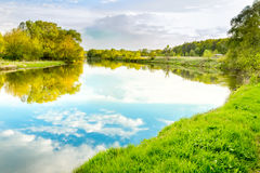 Summer day on river, landscape sunny image Stock Photo