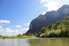 Summer day at river and mountains Royalty Free Stock Images