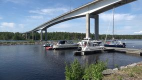 Summer day at the road bridge Puumala. Finland stock footage