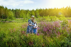 Summer day in Russia. A mother and a daughter enjoying summer day in Russia Stock Images