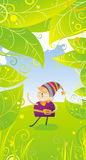 Summer day's leprechaun. Illustration of funny colorful little dancing leprechaun on summer day meadow with gradient green leaves, pinstripes, grass and yellow Stock Photo