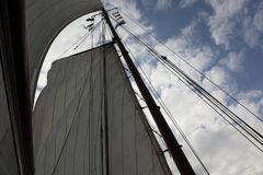 Sail and mast of a traditional ship royalty free stock photo