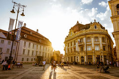 Summer day in Sibiu city. Beautiful summer evening in Sibiu, Romanian city Royalty Free Stock Image