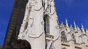 Summer day st patrick new york famous cathedral 4k usa. Usa summer day st patrick new york famous cathedral 4k stock video footage