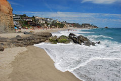 Summer day at Victoria Beach, Laguna Beach, California. Image shows a summer day at picturesque Victoria Beach found in South Laguna Beach, Southern California Stock Photo