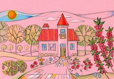 Summer day in village. Colorful drawing of country house in the garden.  royalty free stock photos