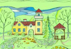 Summer day in village. Colorful drawing of house with tower, birch and fir trees, lawn with flowering daisies and cozy arbor.  vector illustration