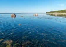 Free Summer Day With Traditional Saaremaa Coast, Short Green Grass, Dune Sand, Juniper, Rocks And Pebbles, Undva Cape, Tagamoisa Stock Image - 195044761