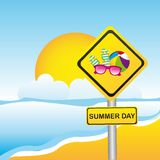 Summer day, yellow sign Royalty Free Stock Images