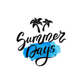 Summer days lettering on watercolor blue stain. Vector hand drawn illustration for greeting cards. Royalty Free Stock Photos