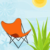 Summer Days (Vector). Retro-Modern, colorful stylized motif of butterfly chair in backyard. Each item is grouped so you can use them independently from the Stock Image