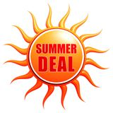 Summer deal in 3d sun label Stock Photography