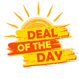 Summer deal of the day, yellow and orange drawn label Stock Photo