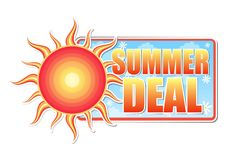 Summer deal in label with sun Royalty Free Stock Images