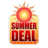Summer deal in label with sun Royalty Free Stock Photography