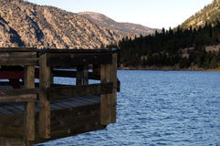 Summer Deck. Deck overhangs the lake at Georgetown, Colorado Royalty Free Stock Photos