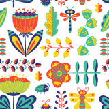 Summer decorative floral seamless pattern with bugs and dragonfly Stock Photography